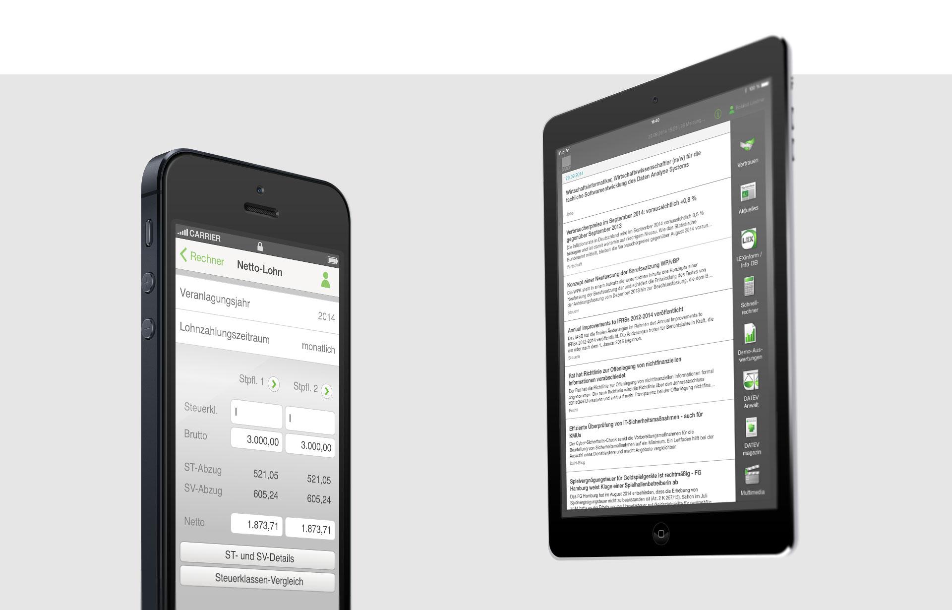 Referenzfoto mit Smartphone und Tabletansicht des Datev Rechners