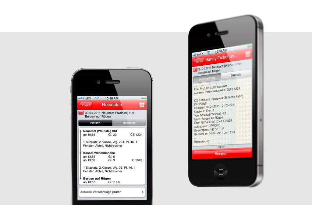 Referenzfoto mit zwei Screendesigns der Deutschen Bahn App