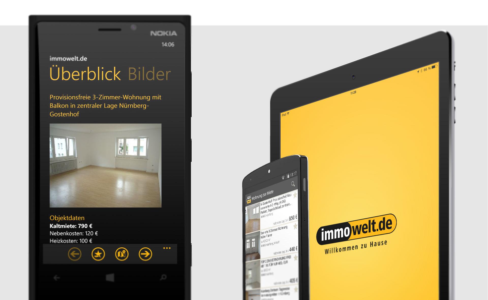 Referenzfoto immowelt-App auf Smartphone und Tablett