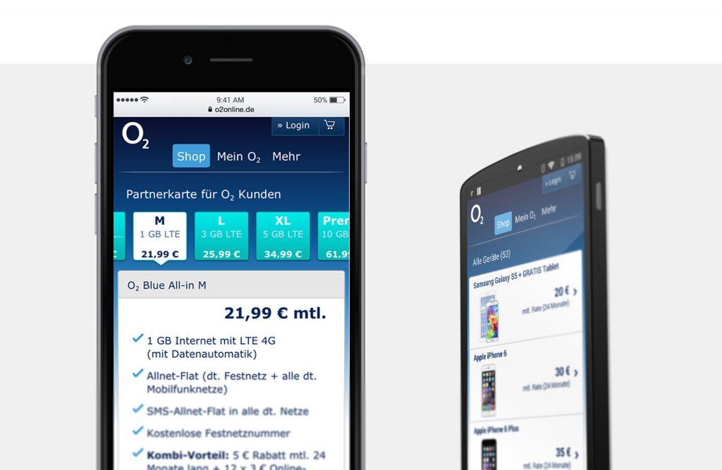 Referenzfoto vom Online Shop O2 auf Smartphone Darstellung