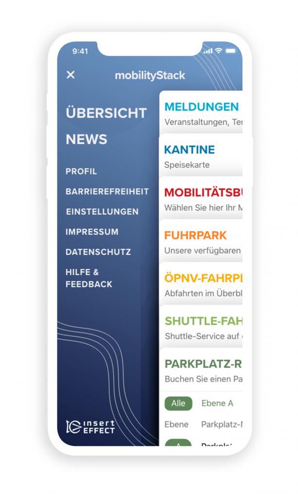 Beispieldarstellung des mobilityStack Screendesign. Übersichtsseite der mobilen Anwendung am Handy.