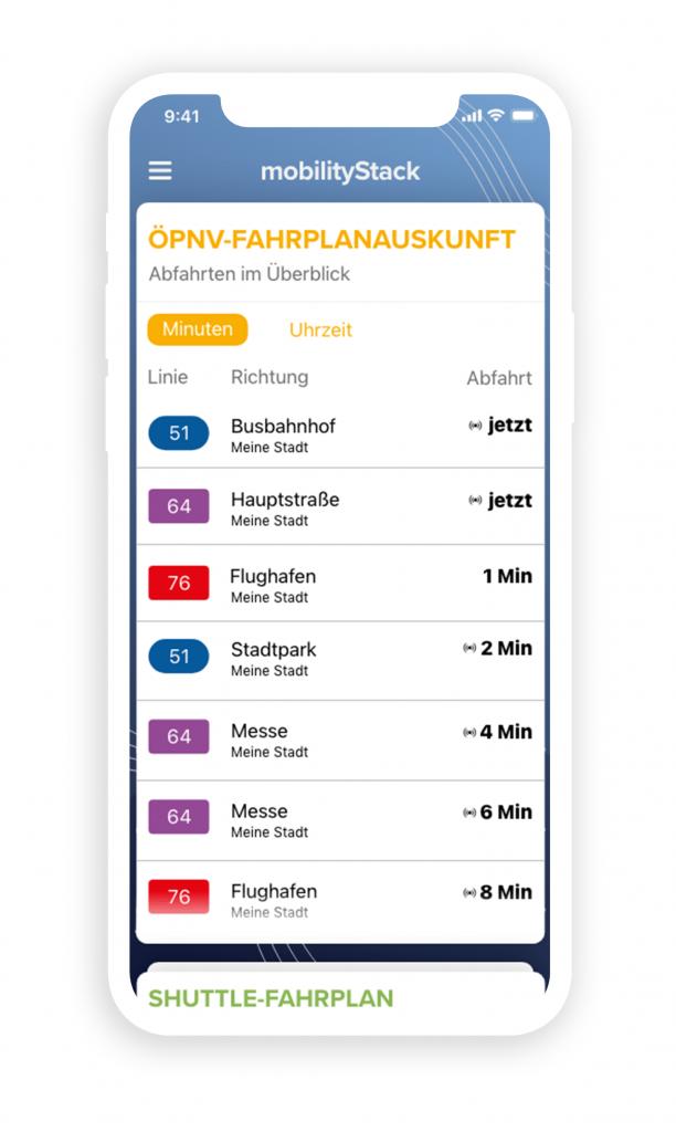 Beispieldarstellung des mobilityStack Screendesign. Thema ÖPNV-Fahrplanauskunft.