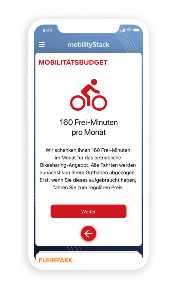 Beispieldarstellung des mobilityStack Screendesigns. Thema Mobilitätsbudget.