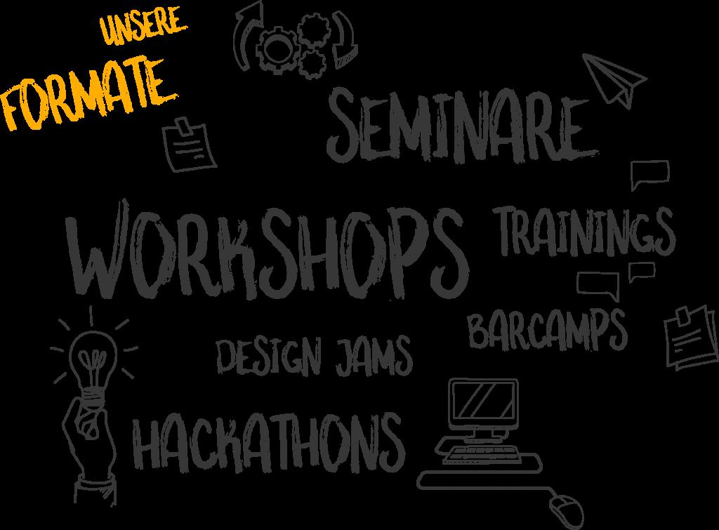 Scribble Bild unsere Formate: Seminare, Workshops, Trainings, Design James, Barcamps, Hackathons